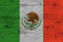 mexico national flag painted old oak wood fastened - stock photo