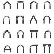 Black icons collection of arches Stock Illustration