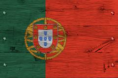 portugal national flag painted old oak wood fastened - stock photo