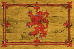 royal standard of scotland flag painted old oak wood fastened - stock illustration