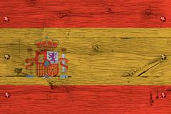 spain national flag painted old oak wood fastened - stock photo