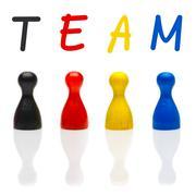 concept team, teamwork, organization primary color black leader - stock photo
