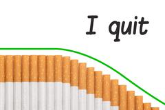 quit smoking text graph cigarettes - stock illustration