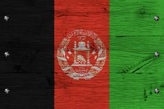 afghanistan national flag painted old oak wood fastened - stock illustration