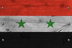 Syria national flag painted old oak wood fastened Stock Illustration