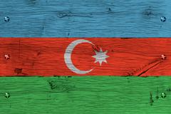 azerbaijan national flag painted old oak wood fastened - stock illustration