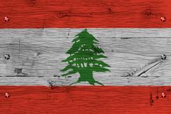 lebanon national flag painted old oak wood fastened - stock photo