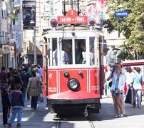 Tram at Taksim Istiklal Street Stock Photos