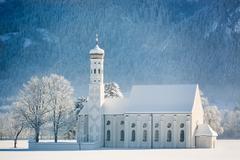 St. Coloman at wintertime, Allgäu, Germany - stock photo