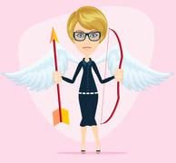 Beautiful girl in a cupid suit with wings, bow and arrow Stock Illustration