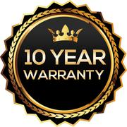 10 years warranty gold badges Stock Illustration
