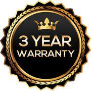 3 years warranty gold badge - stock illustration