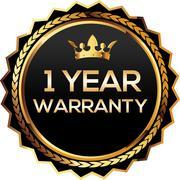 1 years warranty gold badge - stock illustration