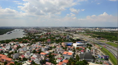 Time Lapse of Traffic and Clouds Passing over Ho Chi Minh City (Saigon) - stock footage