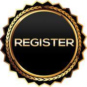 Stock Illustration of Register Gold badge