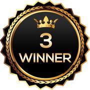 3 winner gold badge - stock illustration