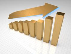 Gold 3D business graph showing growth Stock Illustration