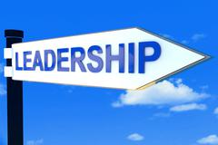 Leadership road direction sign - stock illustration