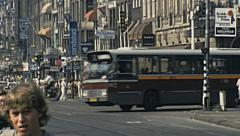 Amsterdam 1980: people walking in the street Stock Footage