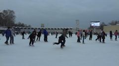 People skate on icerink Stock Footage