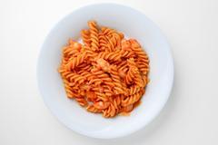 fried macaroni with shrimp on plate - stock photo