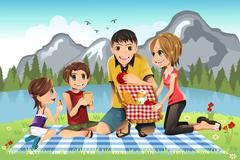 Family picnic Stock Illustration