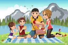family picnic - stock illustration