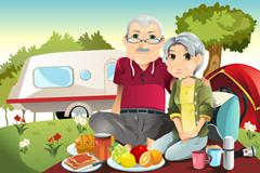 senior couple camping - stock illustration