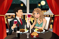 couple in restaurant - stock illustration