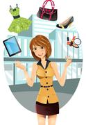 shopping woman - stock illustration