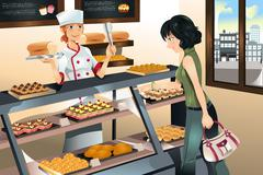 buying cake at bakery store - stock illustration
