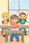 Kids in classroom Stock Illustration