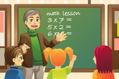 teacher in  classroom - stock illustration