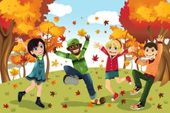 Autumn fall season kids Stock Illustration