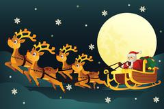 santa riding sleigh with reindeers - stock illustration