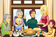 thanksgiving family dinner - stock illustration