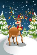 christmas reindeer - stock illustration