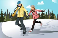 young couple ice skating - stock illustration