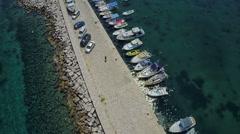 Sutivan port on Brac Island, aerial shot Stock Footage