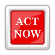 Stock Illustration of act now icon. internet button on white background..