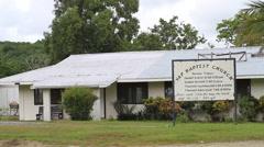 Tin Roof Church on Micronesian Island of Yap Stock Footage