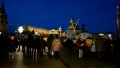Christmas decoration on the market place in Krakow, Poland. Stock Footage