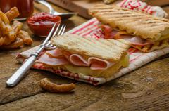quick dinner, toast with ham and cheese - stock photo