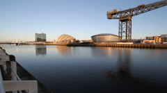 Bells Bridge and Clyde Arc Scotland Glasgow Stock Footage