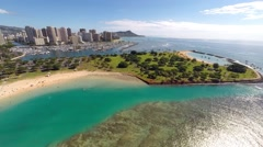 Aerial over Ala Moana & Magic Island Stock Footage