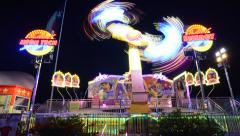 TL TX State Fair Night Spinner Ride Stock Footage
