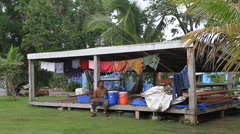 Air Drying Laundry on Micronesian Island of Yap Stock Footage