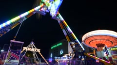 TL TX State Fair Night 180 Spinner Carousel Cotton Bowl Stock Footage