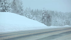 The Kola route, exit to the Segezha town at winter season, Karelia Stock Footage