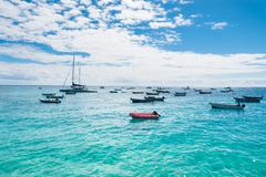 Fisher boats santa maria beach in sal cape verde - cabo verde Stock Photos